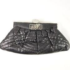 Quilted Black Leather Purse Handbag Clutch Rhinestone Flower Detail Silver Frame