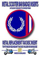 Scooter Metal Insignia, Metal Recambio Tax Disc Inserto, Lambretta (Código 3)