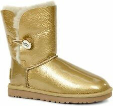 Ugg Gold Boots Soft Shearling Leather Womens 10 M Bailey Crystal Button New