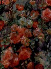 100% Mulberry Silk Chiffon Scarf Tangerine & Peach Roses  64x178cm