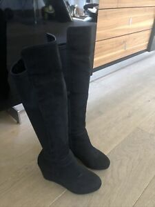 Miss KG Knee High Black Suede Wedge Boots Uk Size 3