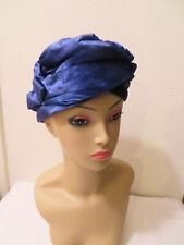 Vintage I. Magnin & Co. Blue Velvet Turban Hat