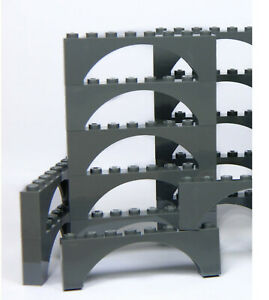 LEGO ARCH 2x8 x10 pieces # DARK STONE GREY # bridge window wall castle *