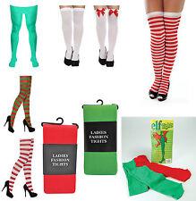 Adult Mens Ladies Teen Elf Xmas Christmas Tights Stockings Fancy Dress Costume