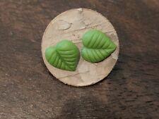 Leaf Earrings Green Clay Aspen