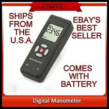 Digital Manometer Air Diferential  Pressure Meter Gauge Large +9V Battery  U.S.A