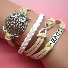 NEW Owl Infinity Love Anchor Leather Cute Charm Bracelet plated Silver DIY SL65