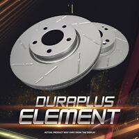 [Rear Coated Slotted Brake Rotors Ceramic Pads] Fit 98-03 Subaru Forester