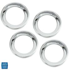 "GM Cars 15"" Rally Wheel 2.5"" Deep Stainless Trim Rings Squared Edge Set of 4"