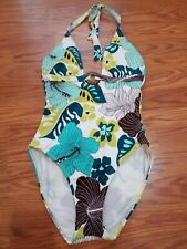 2 Bamboo One Piece Tropical floral Swimsuit V-Neck Size 8 wooden halter Women's