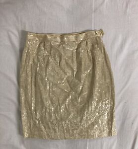 Lori Weidner Womens Ladies Sequinned Shiny Lined Gold Mini Party Skirt- Size 14