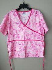 The Breast Cancer Site Scubs Medical Nursing Uniform Top Size L Pink