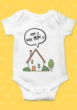 Home Is Where MUM is Smile Funny Cool Baby Shower Boy Girl Bodysuit Romper 59