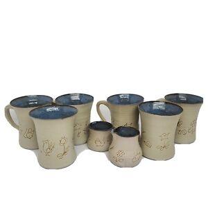 McWhirter Pottery Celo NC North Carolina Sgraffito  mugs creamer sugar set