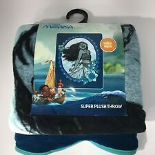 "Disney Moana Plush Fleece Blanket Blue 48"" x 60"" Soft Warm Blue Hot Topic New"