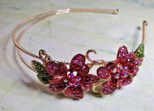Gold Tone Red Pink Crystal Flower Hairband Side Tiara Fascinator Prom Wedding
