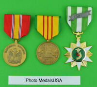 Vietnam Campaign, Service and National Defense Medals with Ribbon Bar - USA T1