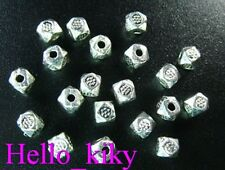 300Pcs Tibetan silver floral faceted spacer beads A415