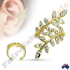 316L Surgical Steel Gold Ion Plated Multi Paved Clear CZ Gem Leaflet Ear Cuff