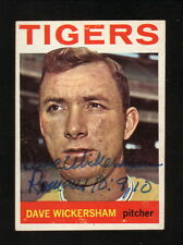 Dave Wickersham--Autographed 1964 Topps Baseball Card--Detroit Tigers