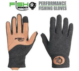 Fish Monkey Task Fleece Charcoal Fishing Glove W/ Leather Palm FM33-CH 4 Sizes