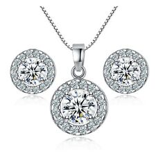 Round Pendant Silver Necklace Earring Set Crystal Cubic Zirconia