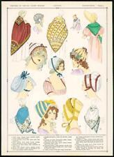C1920 antica stampa francese Tappi Moda Donna coiffures Cappellini (81)