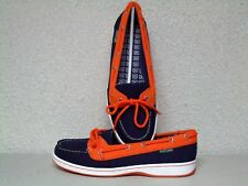NIB Women's MLB Eastland Sunset Detroit Tigers BLU/ORG boat deck shoes US 8