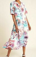 Anthropologie Womens Tugboat Azores Maxi Dress Floral Print Cover up S NWT