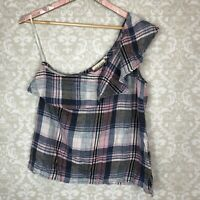 Anthropologie Cloth & Stone Womens One Shoulder Top Tank Plaid NWOT Sz Small