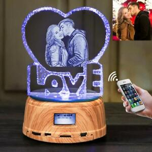 Personalized Photo Engraved Crystal Colorful Music Bluetooth speaker Night Light