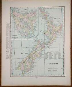 "Vintage 1902 NEW ZEALAND Map 11""x14"" Old Antique Original DUNEDIN NAPIER SEFTON"