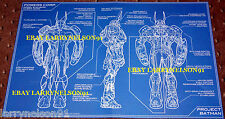 BLUEPRINT POSTER BATMAN BATSUIT PROJECT BATMAN 2015 GCPD ALFRED BRUCE WAYNE