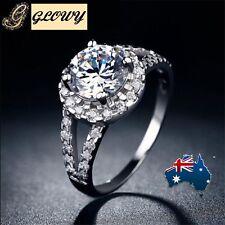 10K White Gold Filled White Topaz Diamonique Ring GF GLOWY Size 7
