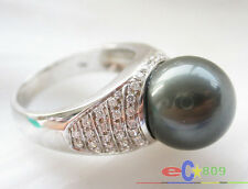 p3028 AAA++ 13mm ROUND TAHITIAN BLACK PEARL RING 14k WHITE GOLD PT