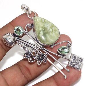 """Larsonite Peridot Ethnic Handmade Pendant Jewelry 3"""" JW"""