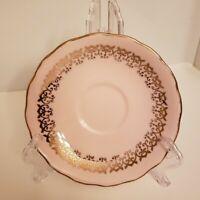 Vintage Crown Essex Bone China Saucer Pink Gold Filigree England