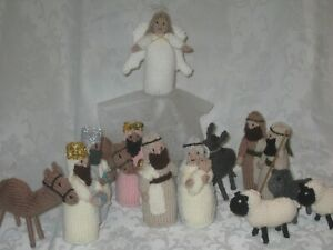 HAND KNITTED NATIVITY COMPLETE SET INCLUDING 2 CAMELS+1 DONKEY,3 SHEEP