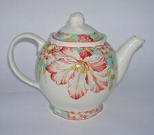 New 222 FIFTH MARLEY TEAL Large Tea Pot Floral