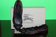 BURBERRY BOW DETAIL BROGUE BALLERINAS BURGUNDY #8.5us $399
