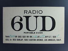 1931 QSL Ham Radio Postcard 6UD Los Angeles California CA Vintage