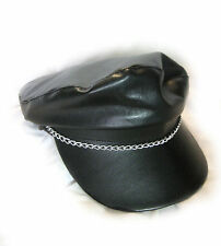 Faux Black Leather Biker Vinyl Rebel Hat Cap Adult Halloween Costume