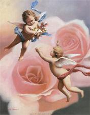 Cherubs' Rose Art Poster Print by T. C. Chiu, 11x14