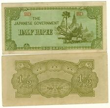 BIRMANIE billet militaire 1/2  RUPPEE Pick8 OCCUPATION JAPON WWII 1942