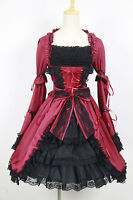 J621 BLACK BURGUNDY LOLITA DRESS COSPLAY LONG SLEEVES GOTHIC GOTH HALLOWEEN