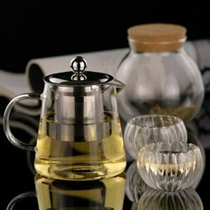 Stainless Steel Teapot Heat Resistant Kettle Tea Set Glass Tea Pot Strainer