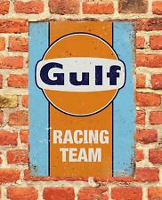 "Gulf Racing Vintage Look Large 12"" x 8"" Tin Sign Man-Cave"