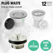 40/50mm Sink Plug Waste BSP Connection Durable Commercial for Kitchen