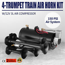OEM 4 Trumpet Train Air Horn Kit + 150PSI 3Liters Compressor 12V 150dB Use