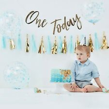 Baby Boys Blue & Gold 1st First Birthday Cake Smash Kit Photo Prop Decorations